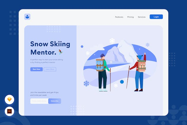 Snow Skiing - Website Header Illustration