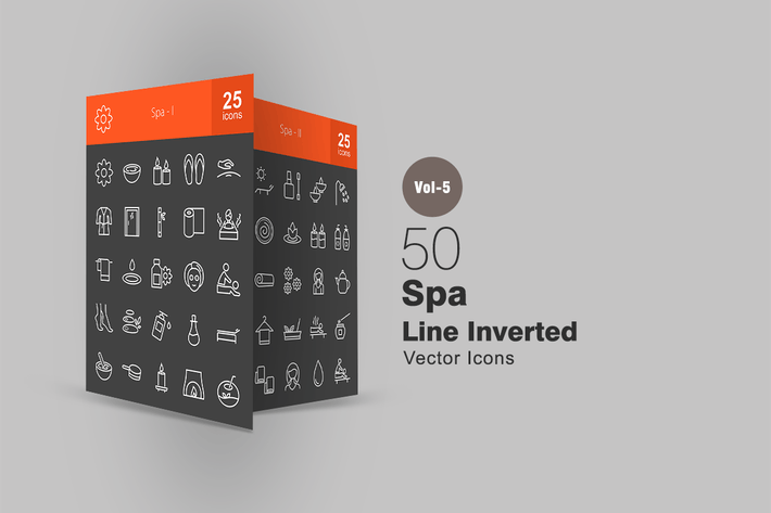 Thumbnail for 50 Spa Line Inverted Icons