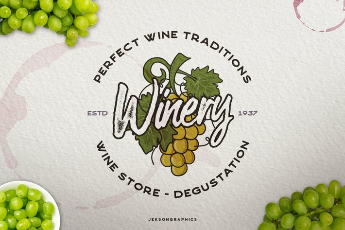 Thumbnail for Winery Vintage Logo / Retro Wine Badge