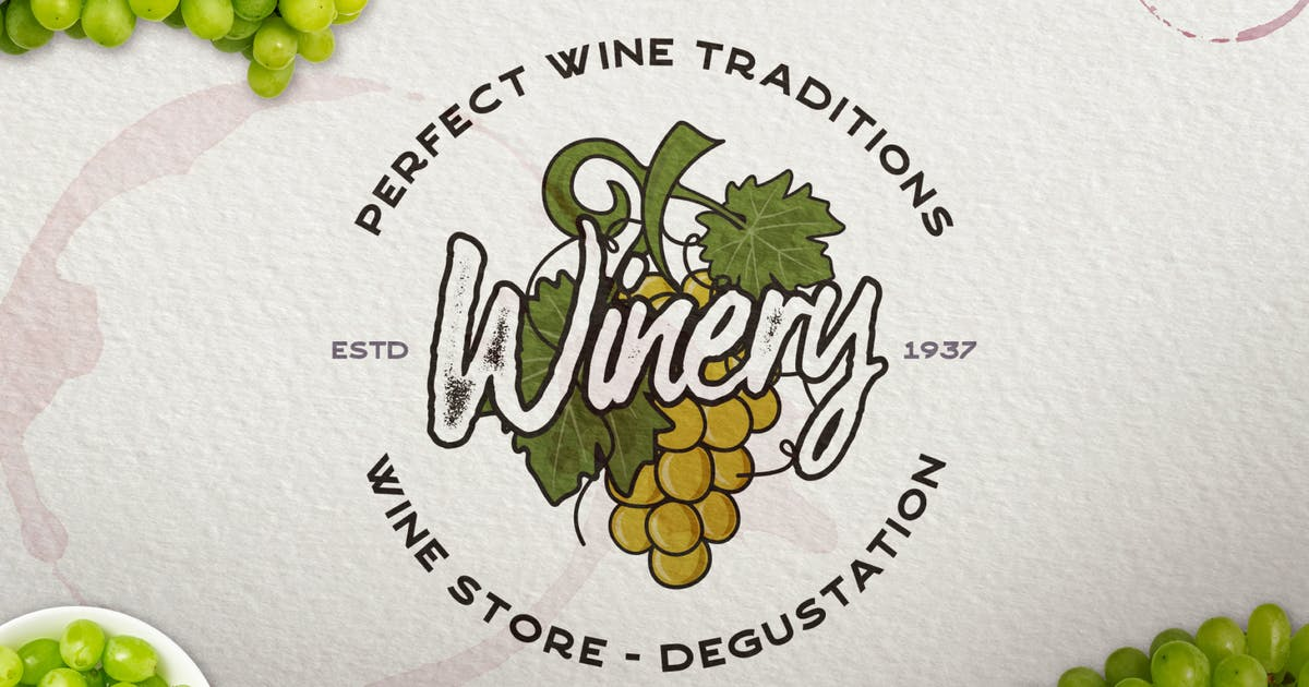 Download Winery Vintage Logo / Retro Wine Badge by JeksonJS