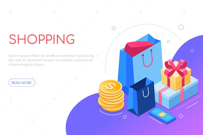 Thumbnail for Shopping concept - colorful isometric web banner