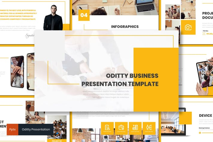 Oditty Business Powerpoint Template by inspirasign on