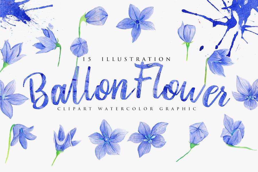 15 Watercolor Ballon Flower Illustration
