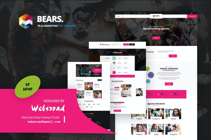 Cover Image For Bear's - Pr & Marketing PSD Template