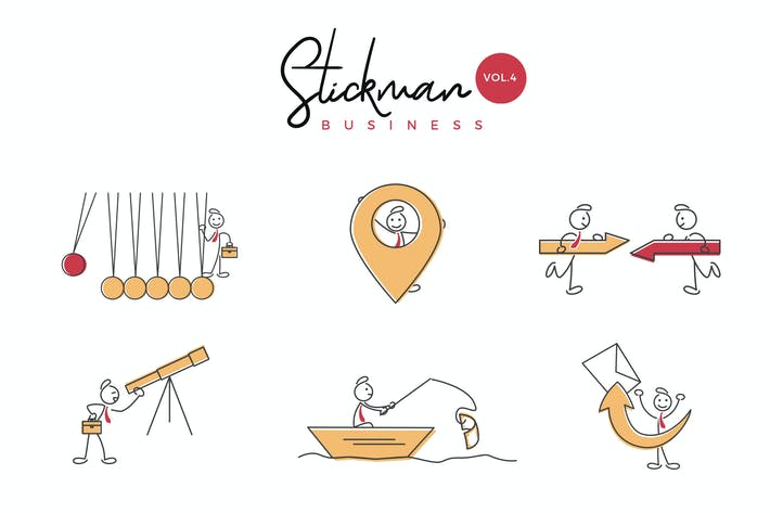 Thumbnail for Business Stickman Vector Illustration Set 4