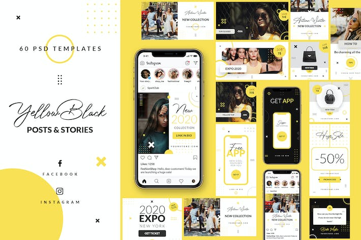 Thumbnail for Yellow Black - Instagram&Facebook - Stories&Posts