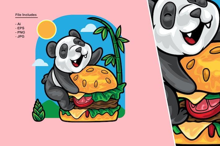 Panda-Liebe-Hamburger-Illustration