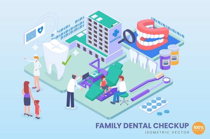 Thumbnail for Isometric Family Dental Checkup Vector Concept