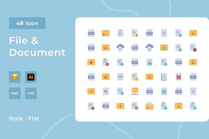 Paquete de iconos de estilo plano de archivo y documento