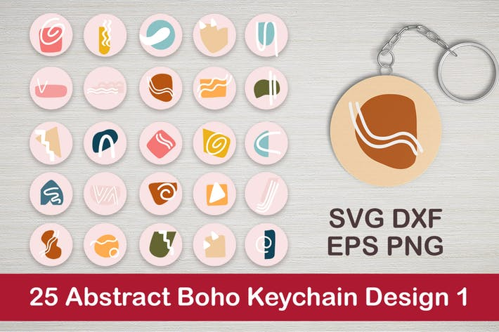 25 Abstract Boho Keychain Designs 1