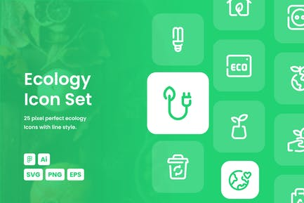 Ökologie Gestrichelte Linie Icon Set