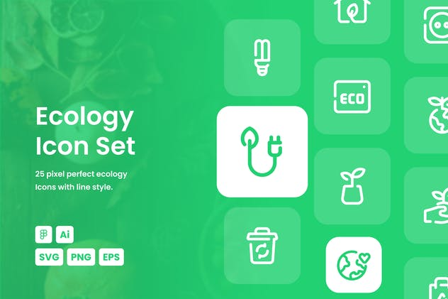 Ecology Dashed Line Icon Set