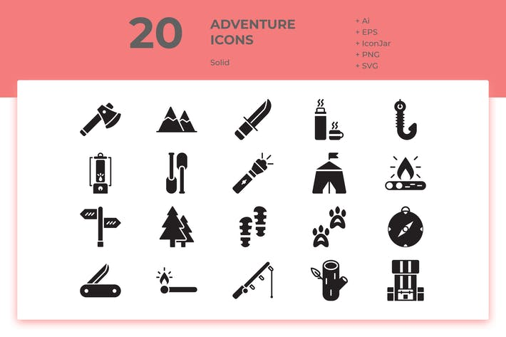 Thumbnail for 20 Adventure Icons (Solid)