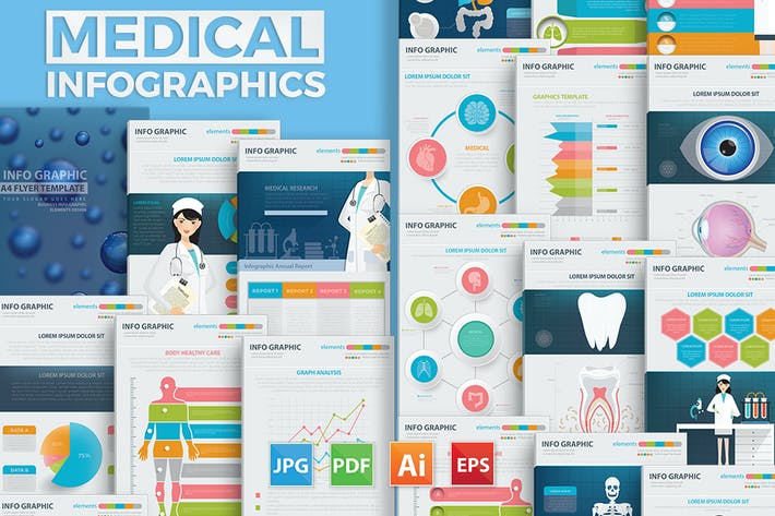Thumbnail for 19 Page Medical and Healthy Infographic Design