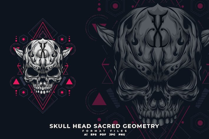 Thumbnail for Skull head sacred geometry