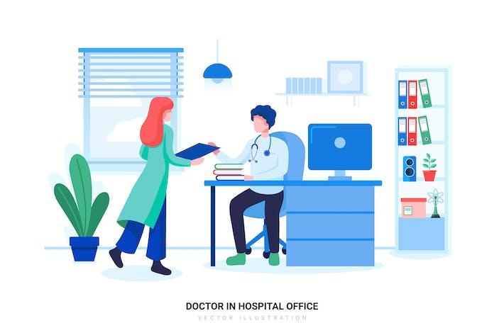 Doctor in Hospital Office Vector Illustration