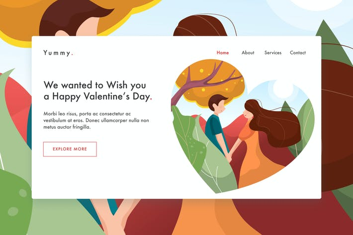 Thumbnail for Love Story web template for Landing Page