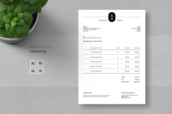 Thumbnail for Minimalist Invoice