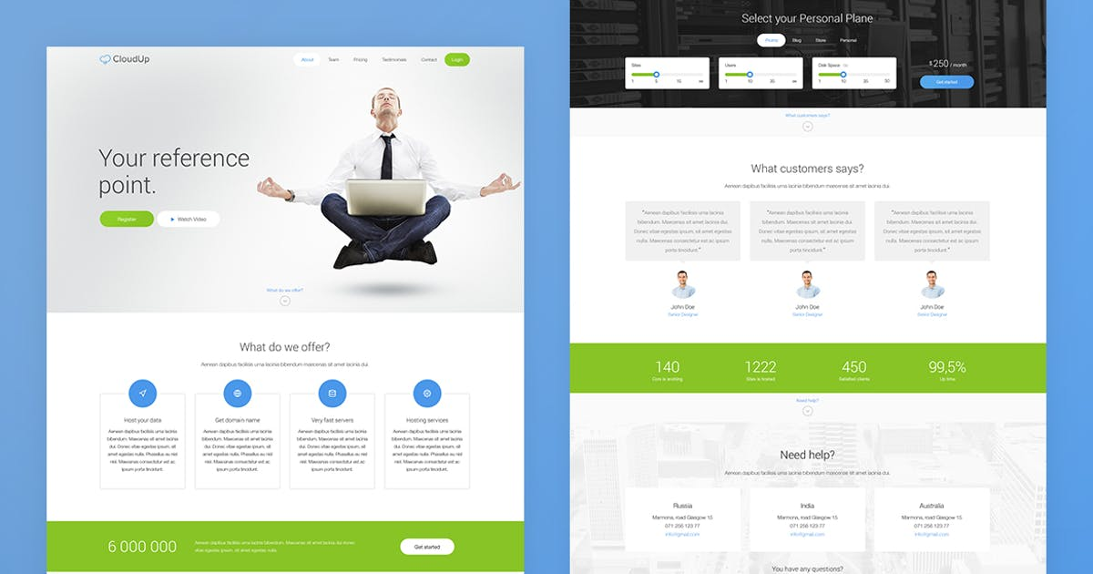 Download CloudUp — Landing Page PSD Template by Unknow