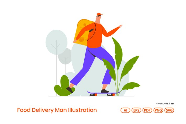 Thumbnail for Food Delivery Man Illustration