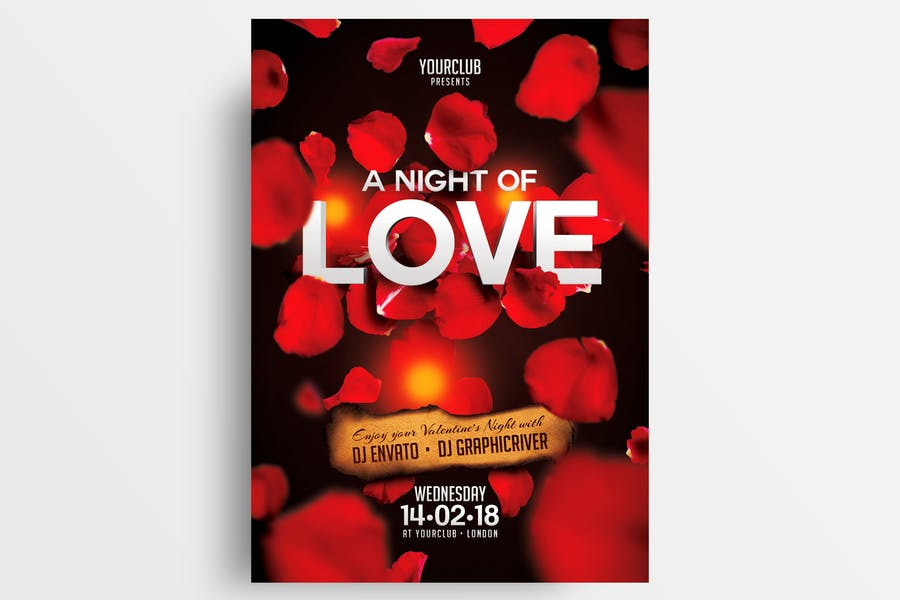 A Night Of Love Flyer Template