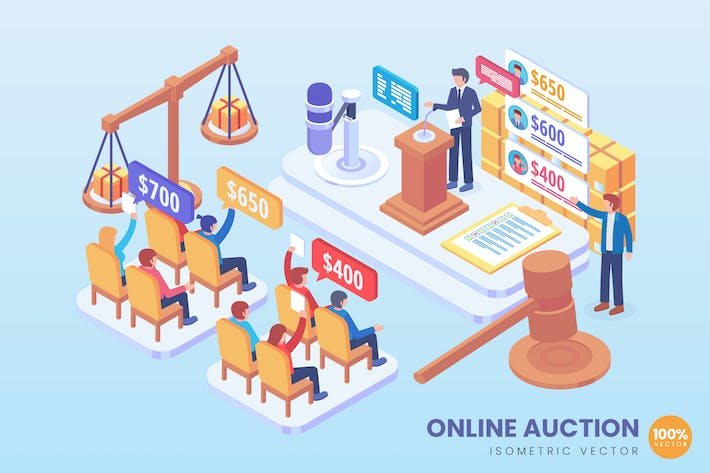 Cover Image For Isometric Online Auction Vector Concept