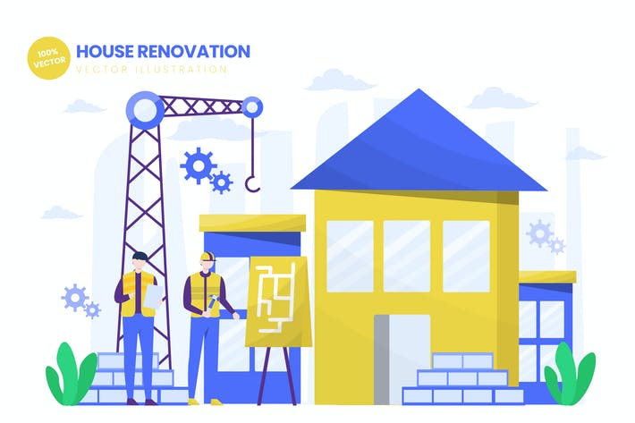 Thumbnail for House Renovation Flat Vector Illustration