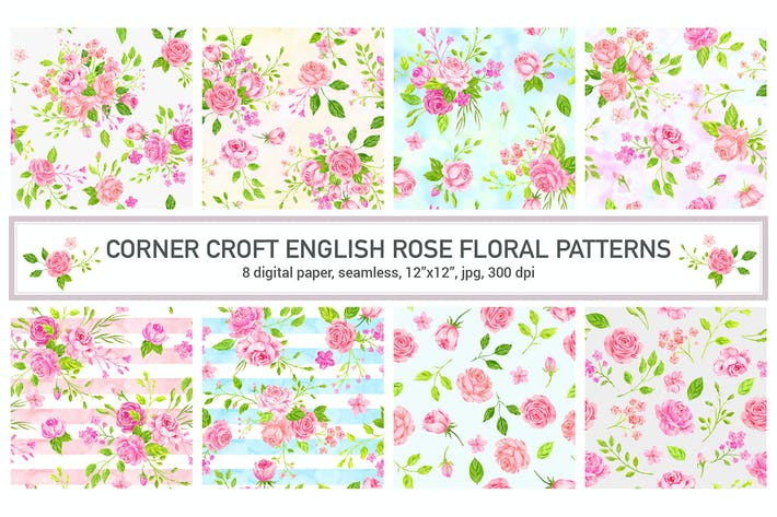 Thumbnail for Watercolor English Rose Pattern