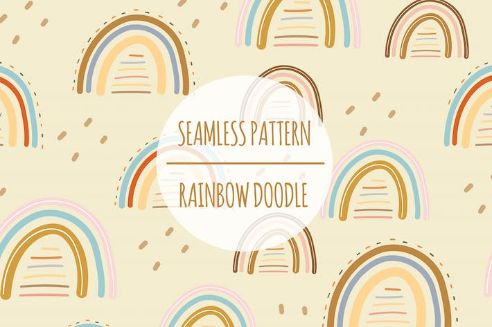 Rainbow Doodle — Nahtloses Muster