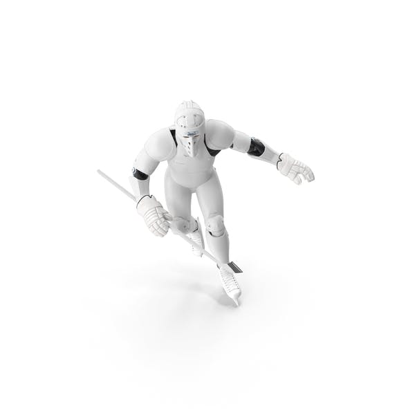 Thumbnail for Humanoid Hockey Player With Stick Pose White