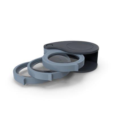 Lupa plegable con triple lente