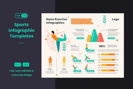 Sport-Infografik-Vorlage: Yoga & Heimübungen