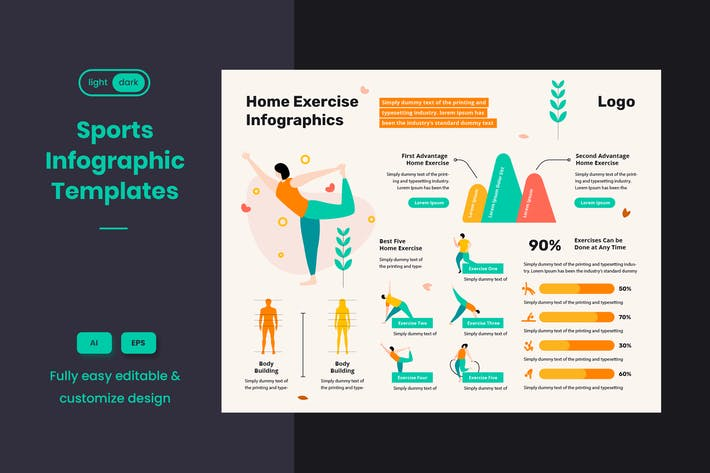 Sport Infographic Template: Yoga & Home Exercises