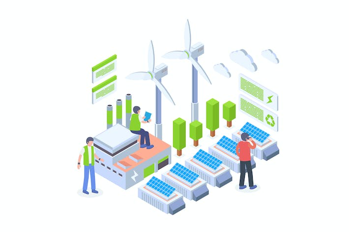 Thumbnail for Green Energy Technology Isometric Vector