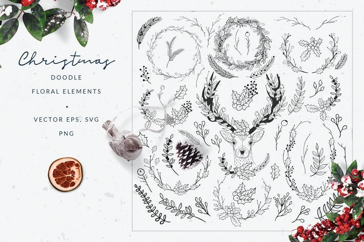 Thumbnail for Christmas Doodle Floral Elements