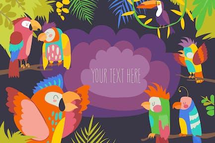 Cartoon tropisches Paradies Rahmen mit Papageien.