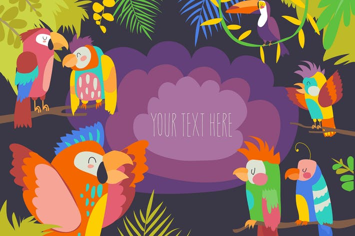 Thumbnail for Cartoon tropical paradise frame with parrots.
