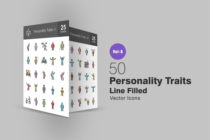 Thumbnail for 50 Personality Traits Line Filled Icons