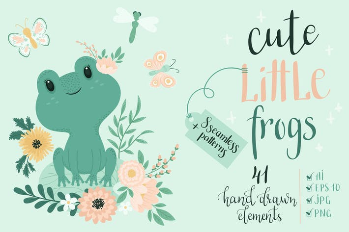 Thumbnail for Cute Little Frogs Vector Graphic Set