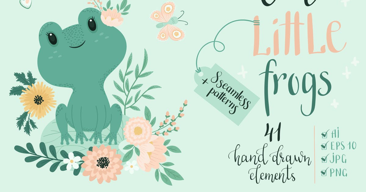 Download Cute Little Frogs Vector Graphic Set by NataliyaDolotko