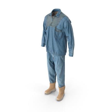 Herren Jeans Pullover Stiefel T-shirt Beige Blau