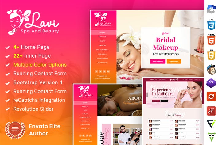 Lavi : Beauty Spa Salon Makeup Parlour Bootstrap 4