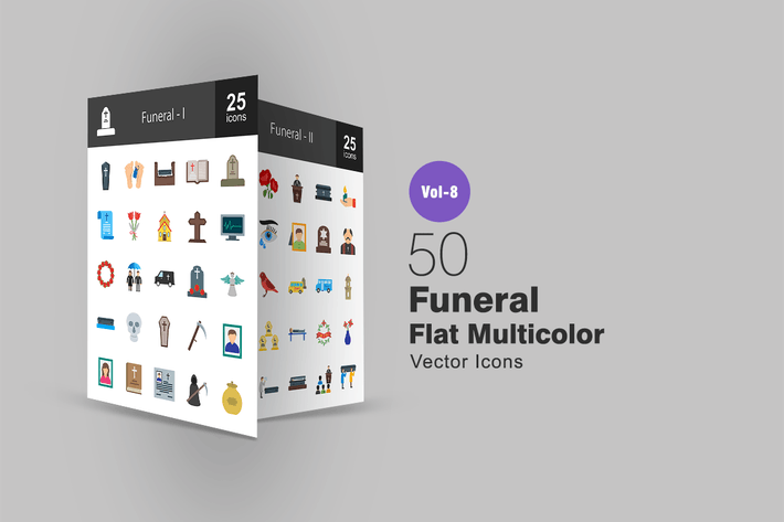 Thumbnail for 50 Funeral Flat Multi-color Icons