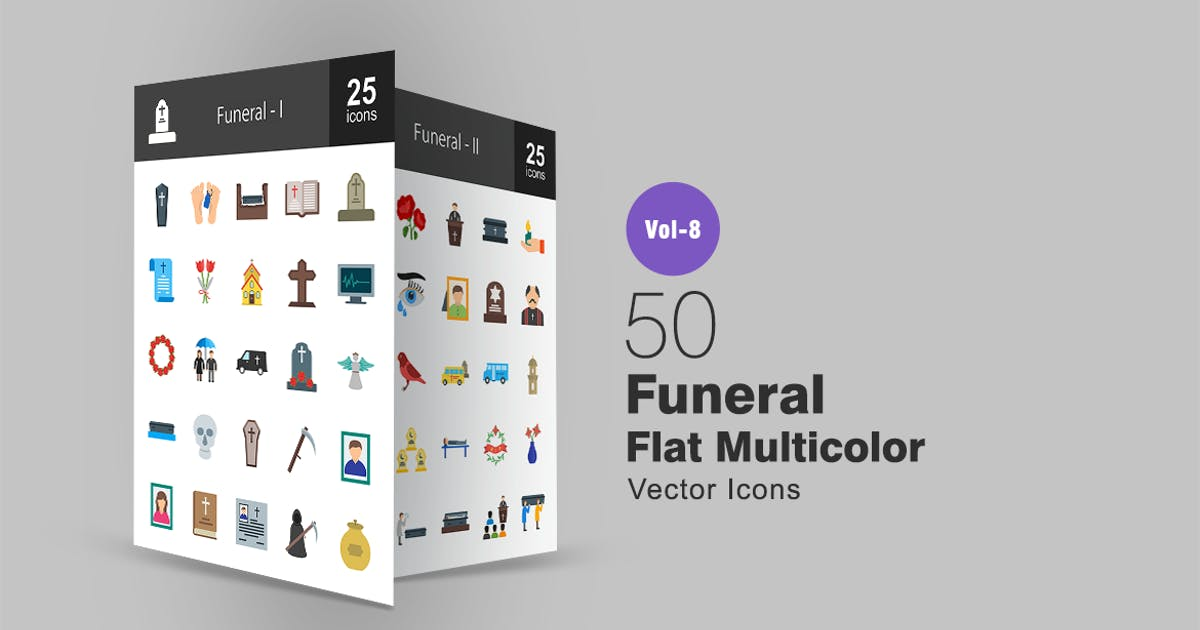 Download 50 Funeral Flat Multi-color Icons by IconBunny