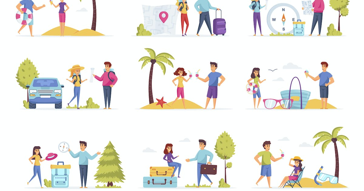 Download Travel Vacation People Character Situation Scenes by alexdndz