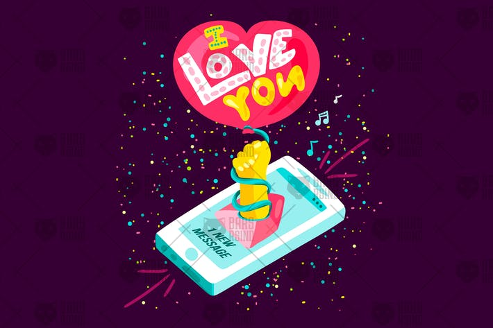 Cover Image For Romantic Message From Phone - I love you