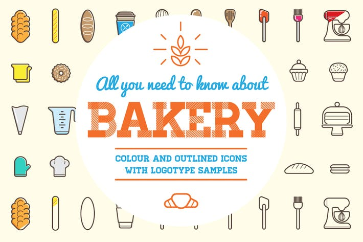 Thumbnail for Bakery Color and Outline Icons with Logotypes