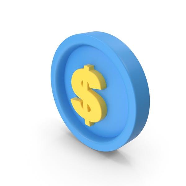 Geld-Symbol Blau und Gelb