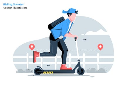 Riding Scooter - Vector Illustration