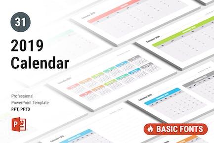 Calendar 2019 for PowerPoint